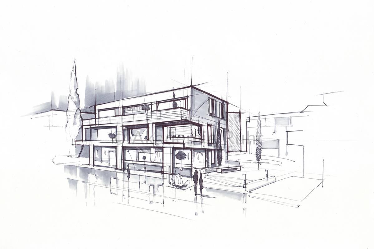 Mappenbeispiele architektur akademie ruhr - Architektur skizzen zeichnen ...